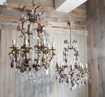 Pair of Iron & Crystal Chandeliers